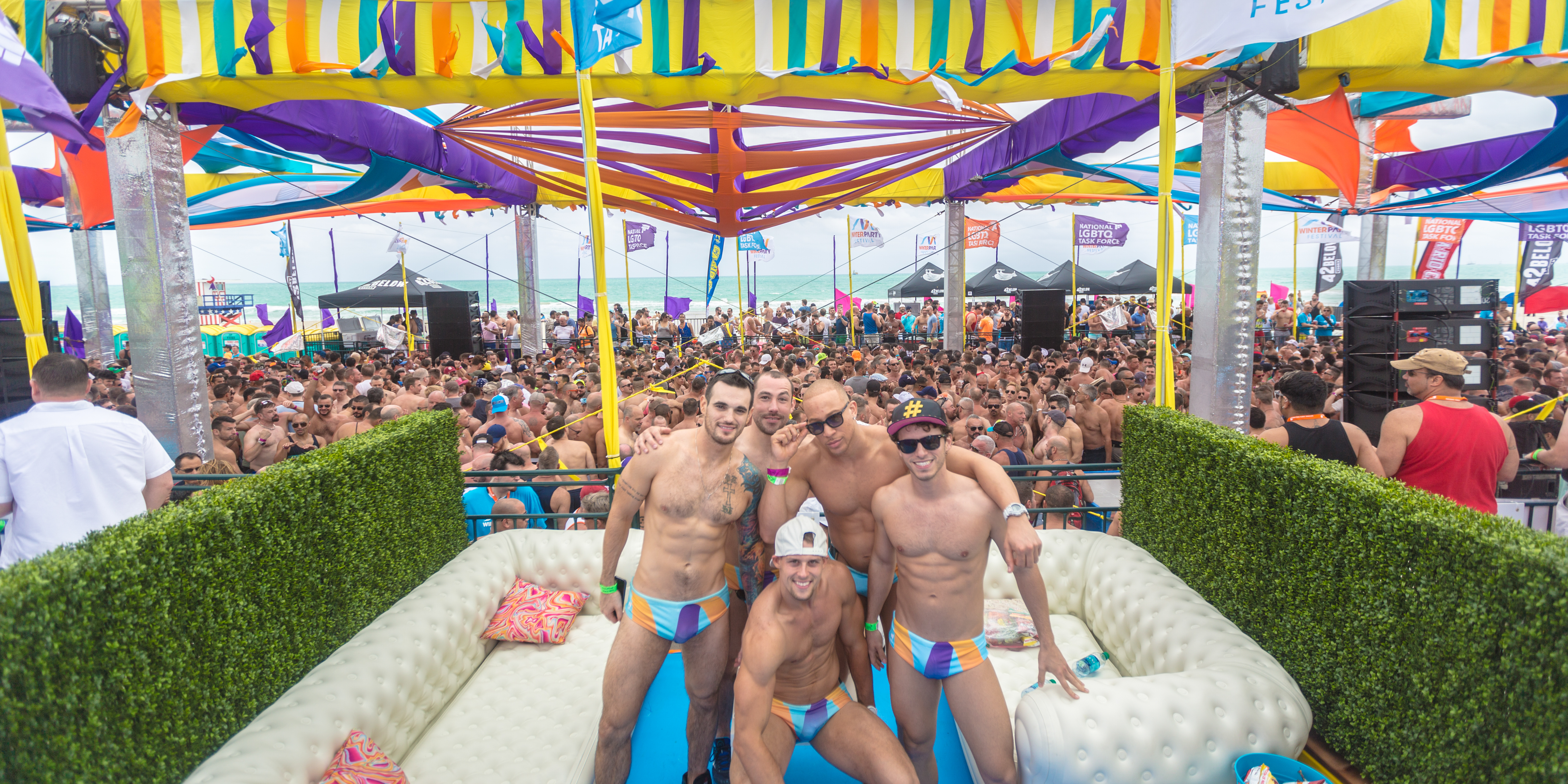 Enhance Your Beach Party Experience By Purchasing A Private Cabana Complete With Furniture Complimentary Drinks And Your Very Own Cabana Boy Or Girl