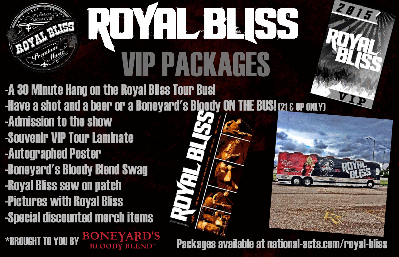 Tickets for royal bliss vip la crosse wi in la crosse from platinum bus meet and greet package includes a 30 minute hang on the royal bliss tour bus have a shot and a beer or a boneyards bloody on the bus kristyandbryce Images
