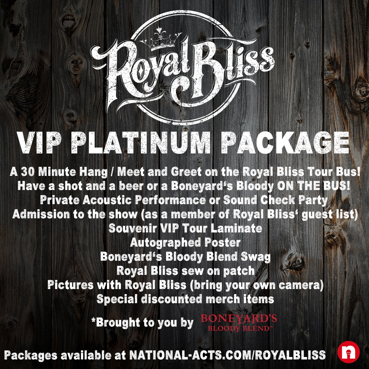 Tickets for royal bliss vip spokane wa in spokane from national platinum bus meet and greet package includes a 30 minute hang meet and greet on the royal bliss tour bus have a shot and a beer or a boneyards bloody kristyandbryce Images
