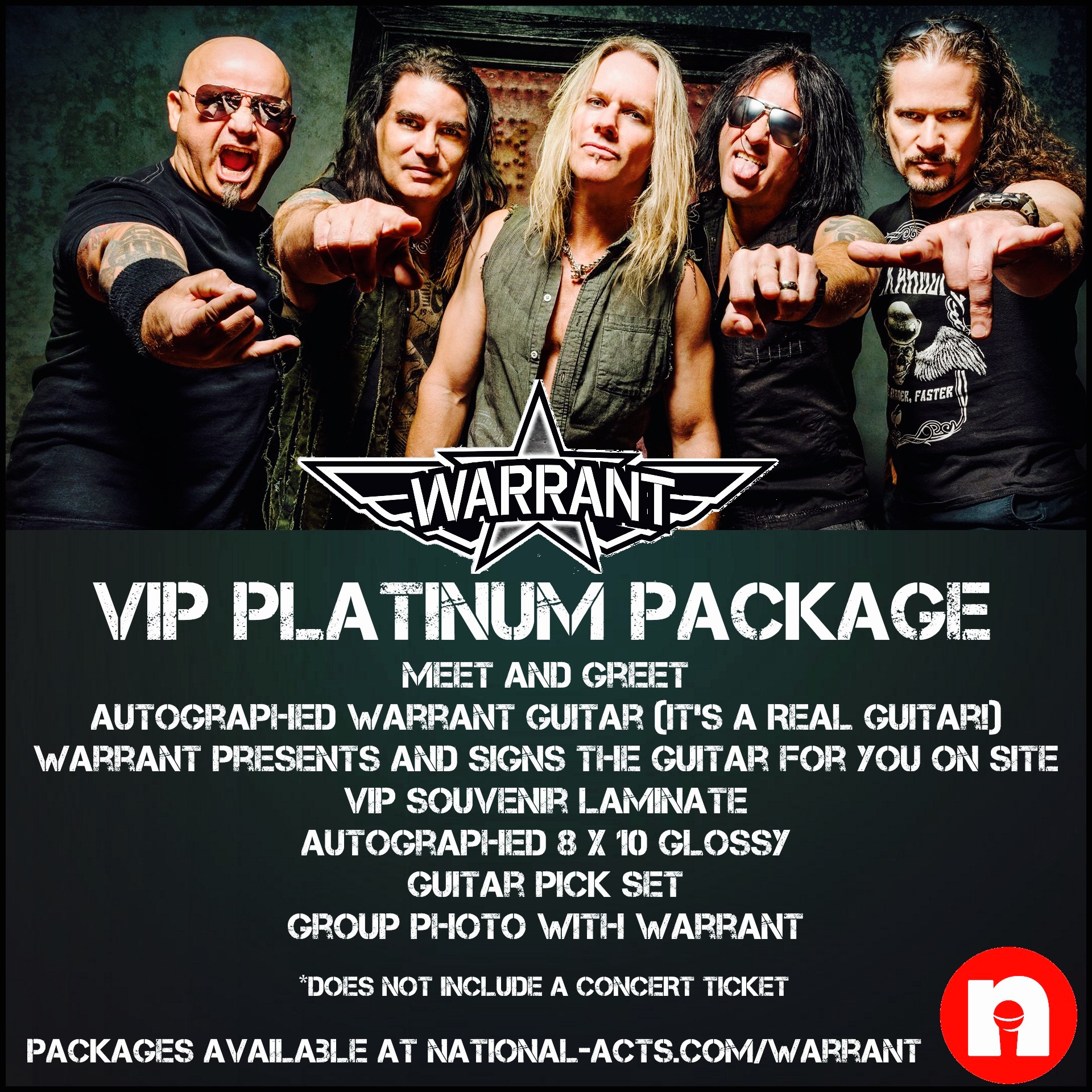 Tickets for warrant mg scottsdale az in scottsdale from national the vip diamond live package 199900 for 2 people includes m4hsunfo